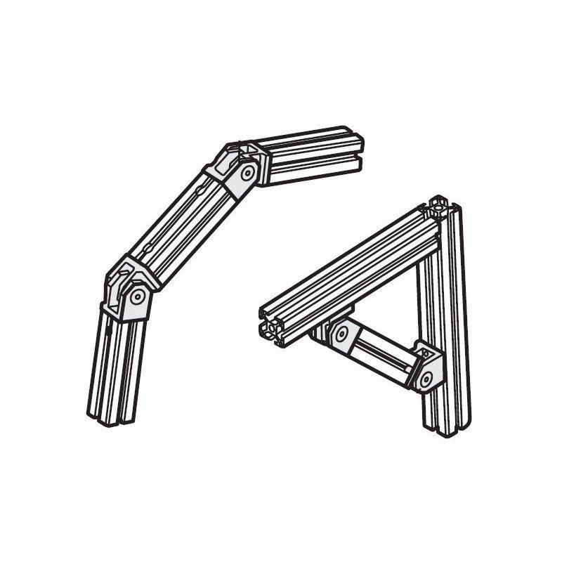 Articulation pour profilé 20x20 - Fixation pour 2 extrémités - Visserie incluse