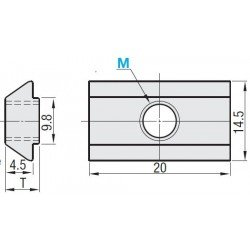 Ecrou de fixation post-montage pour profilés à fente de 10 mm - Taraudage M8