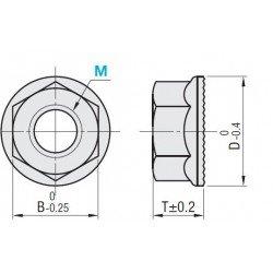 Lot de 10 écrous pour boulon de fixation M8 pour profilés à fente de 10 mm