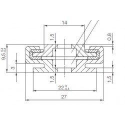 Rail de guidage linéaire largeur 27 mm longueur 1000 mm
