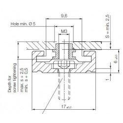 Rail de guidage linéaire largeur 17 mm longueur 1000 mm