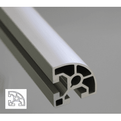 Rounded aluminium profile 40x40 10mm slot