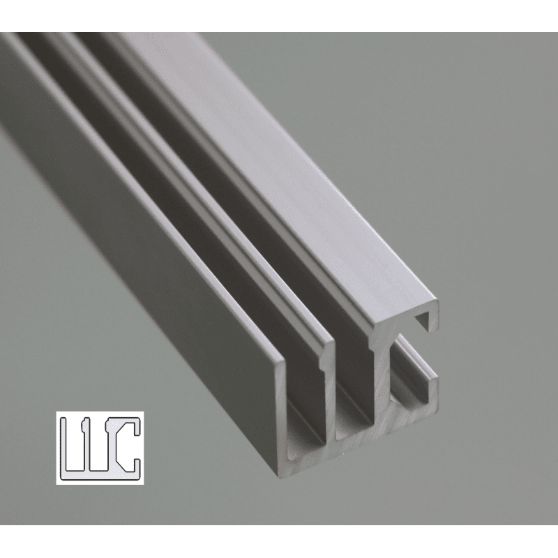 Rail with 8mm slot for sliding panels 2 rows syst al - Kit rail porte coulissante exterieure ...