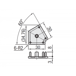 Protective cap for 60° angle 30x30 profiles with 8mm slot – Grey