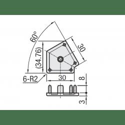 Embout de protection pour profilé 30x30 angle de 60° - fente de 8 mm - Gris