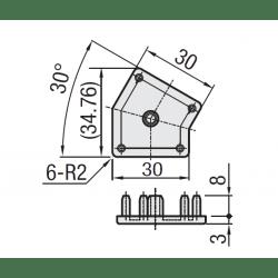 Embout de protection pour profilé 30x30 angle de 30° - fente de 8 mm - Noir