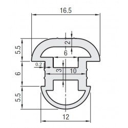 Joint d'étanchéité - pour fente de 10 mm - Longueur 12m - Gris