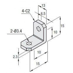 Equerre largeur 13mm pour profilé 15x15