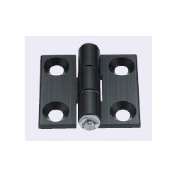 Aluminium hinge for 40x40 profiles with 10mm slot + fixings – black anodised