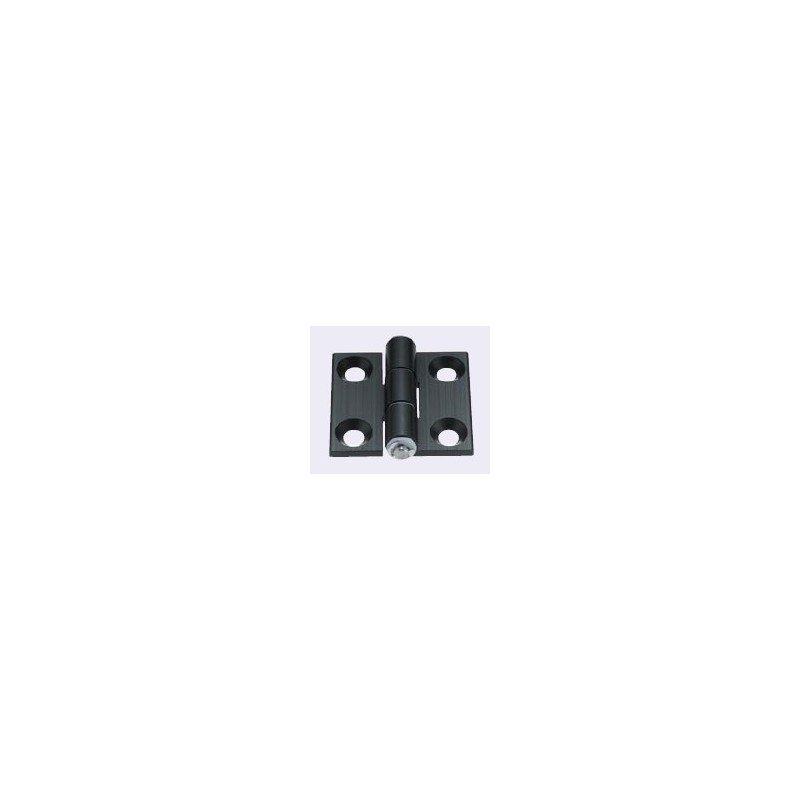 Charnière en aluminium pour profilé fente de 10 mm + visserie - anodisation noire