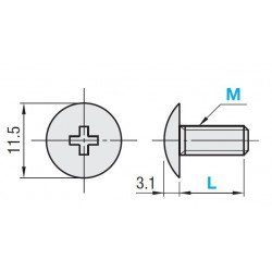 Pack of 10 flat head screws M5x15