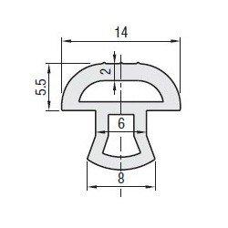 Joint d'étanchéité - pour fente de 6 mm - Longueur 12m - Gris