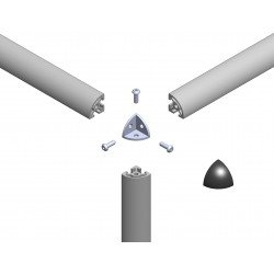 Assembly connector – three rounded profiles with 10mm slot – Grey