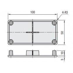 Embout de protection pour profilés aluminium 50x100 fente de 10mm - Noir