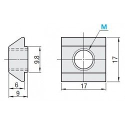 Pack of 10 fastening nuts for 10mm slot profiles – M6 threading