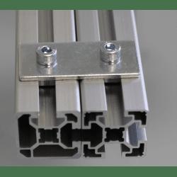 Plaque de fixation simple pour profilés 40x40 à fente de 10 mm - Avec visserie