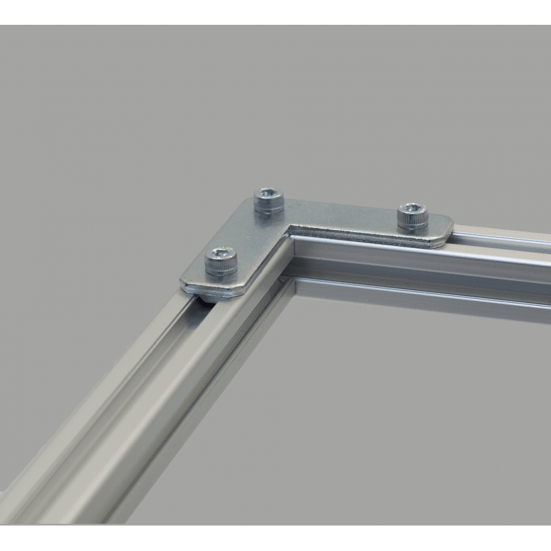 L-shaped fastening plate for 30x30 profile with 8mm slot