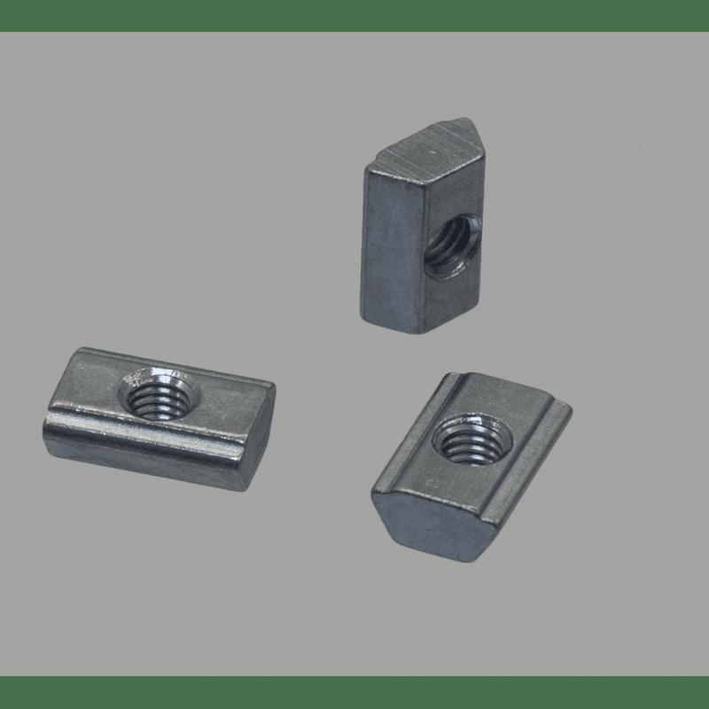 Lot de 10 écrous de fixation post-montage pour profilés à fente de 10 mm - Taraudage M6