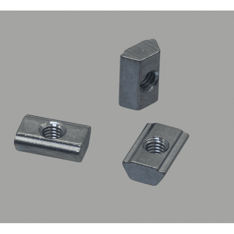 Lot de 10 écrous de fixation post-montage pour profilés à fente de 10 mm - Taraudage M4