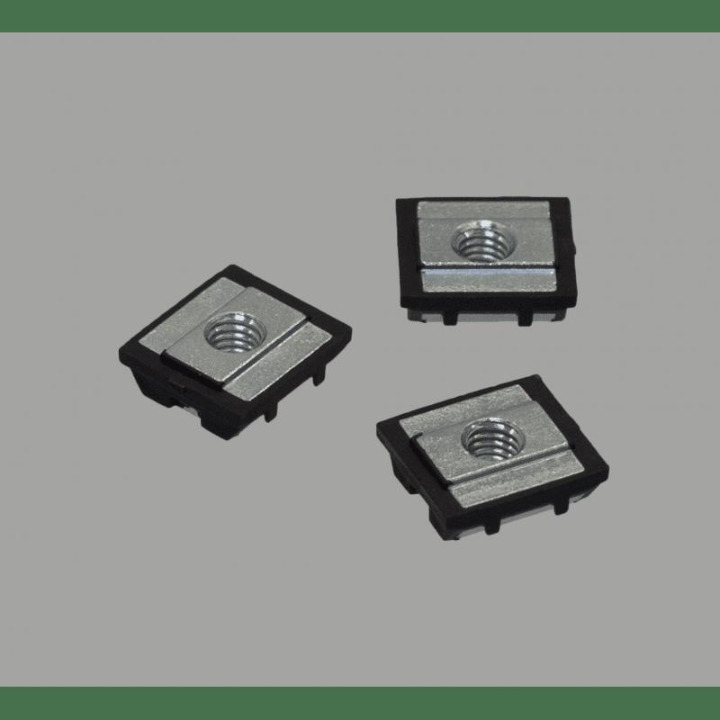Lot de 10 écrous de fixation avec fonction de maintien provisoire pour profilés à fente de 10 mm - Taraudage M6