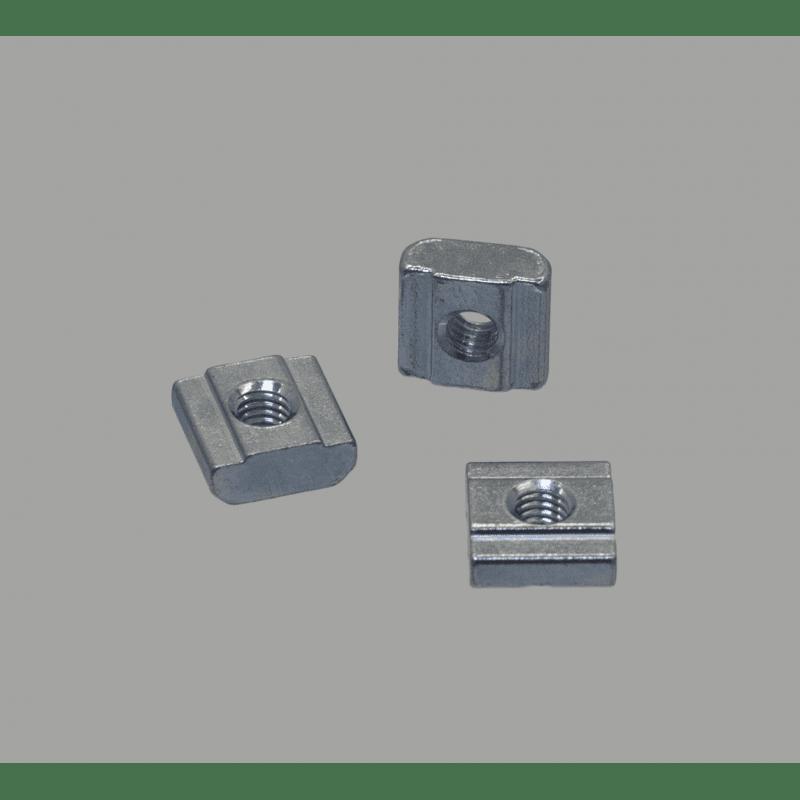Lot de 10 écrous de fixation pour profilés à fente de 8 mm - Taraudage M5