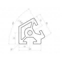 Profilé aluminium 20x20 angle de 60° - fente de 6 mm