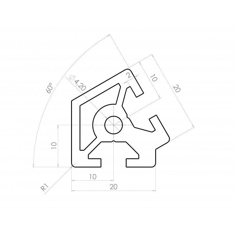 Aluminium profile 20x20 60° angle – 6mm slot
