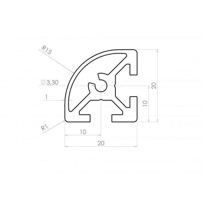 Rounded aluminium profile 20x20 6mm slot