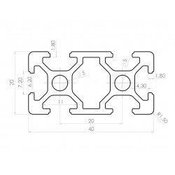 Aluminium profile 20x40 6mm slot