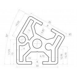 Aluminium profile 30x30 30° angle – 8mm slot