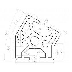 Profilé aluminium 30x30 angle de 30° - fente de 8 mm