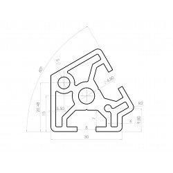 Aluminium profile 30x30 60° angle – 8mm slot