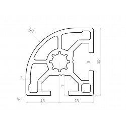 Rounded aluminium profile 30x30 – 8mm slot