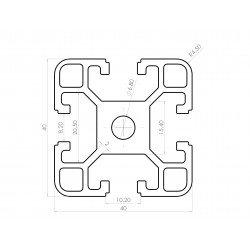 Profilé aluminium 40x40 fente 8 mm