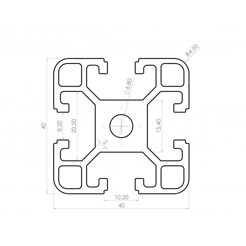 Aluminium profile 40x40 8mm slot