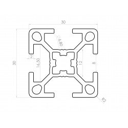 Profilé aluminium 30x30 4 fentes 8 mm anodisé noir