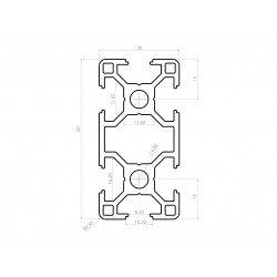 Aluminium profile 30x60 8mm slot