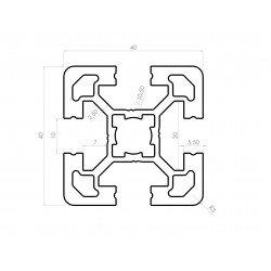 Profilé aluminium 40x40 4 fentes 10 mm anodisé noir