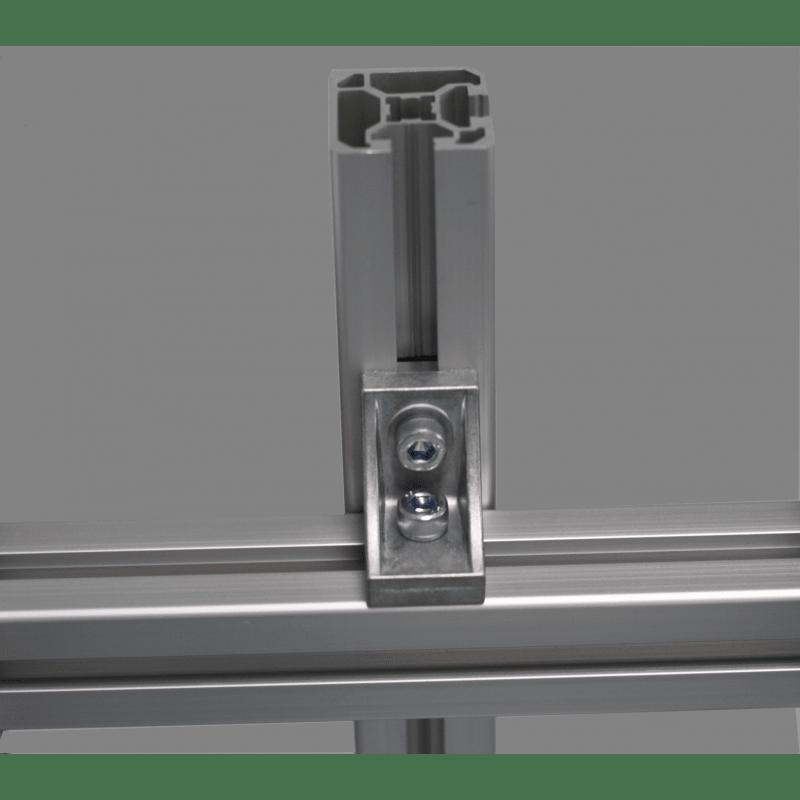 Equerre de fixation profilés 10 mm - pour fixation en croix avec trou de fixation- pour profilés 40 ou 80