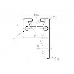 L-shaped flat aluminium profile 30x20 – 6mm slot