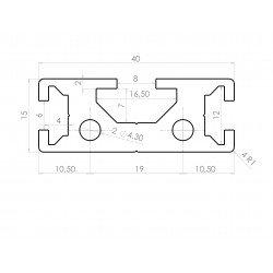 Profilé aluminium plat 40x15 - fentes de 6 et 8mm