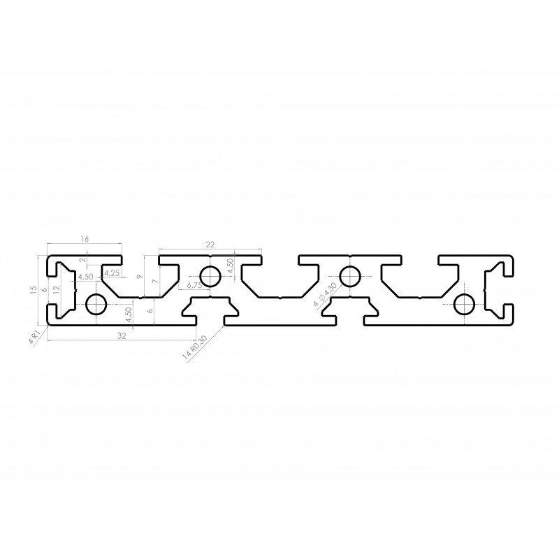 Profilé aluminium plat 100x15 - fentes de 6 et 8mm