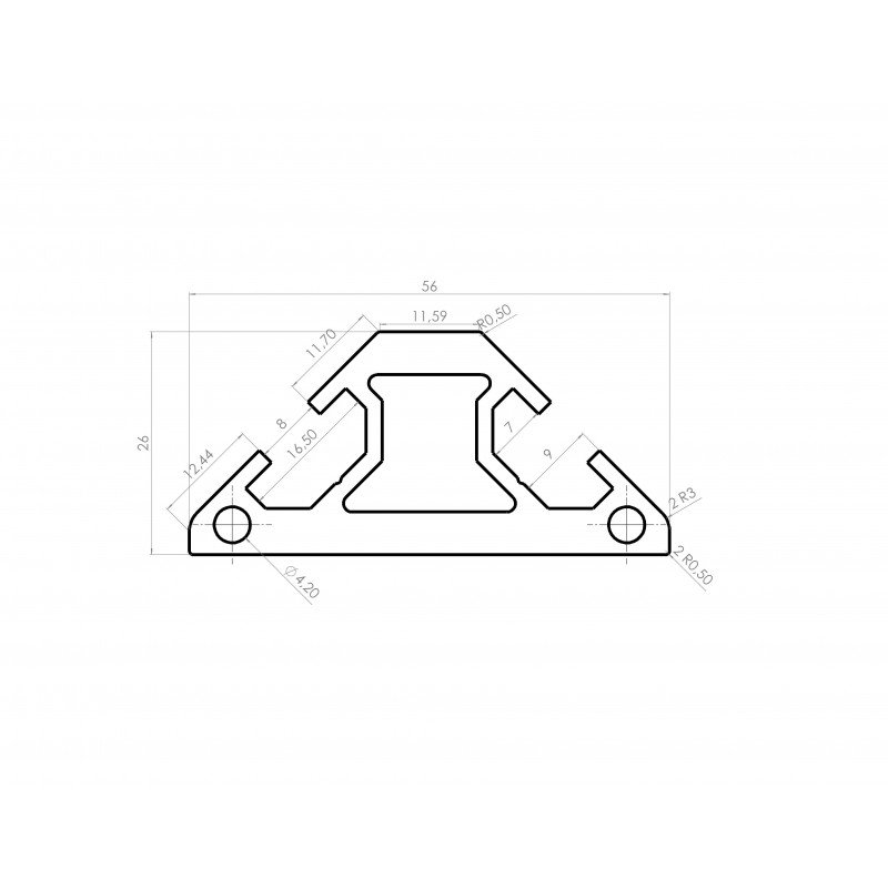Profilé aluminium 30x30 triangle- fente de 8 mm