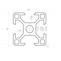 Profilé aluminium 30x30 fente 8 mm - version légère