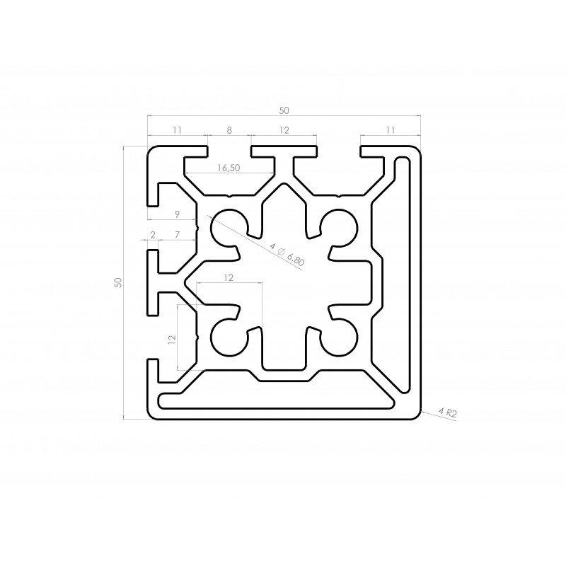 Aluminium profile 50x50 8mm slot