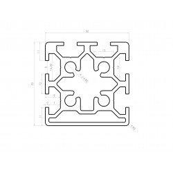 Profilé aluminium 50x50 fente 8 mm