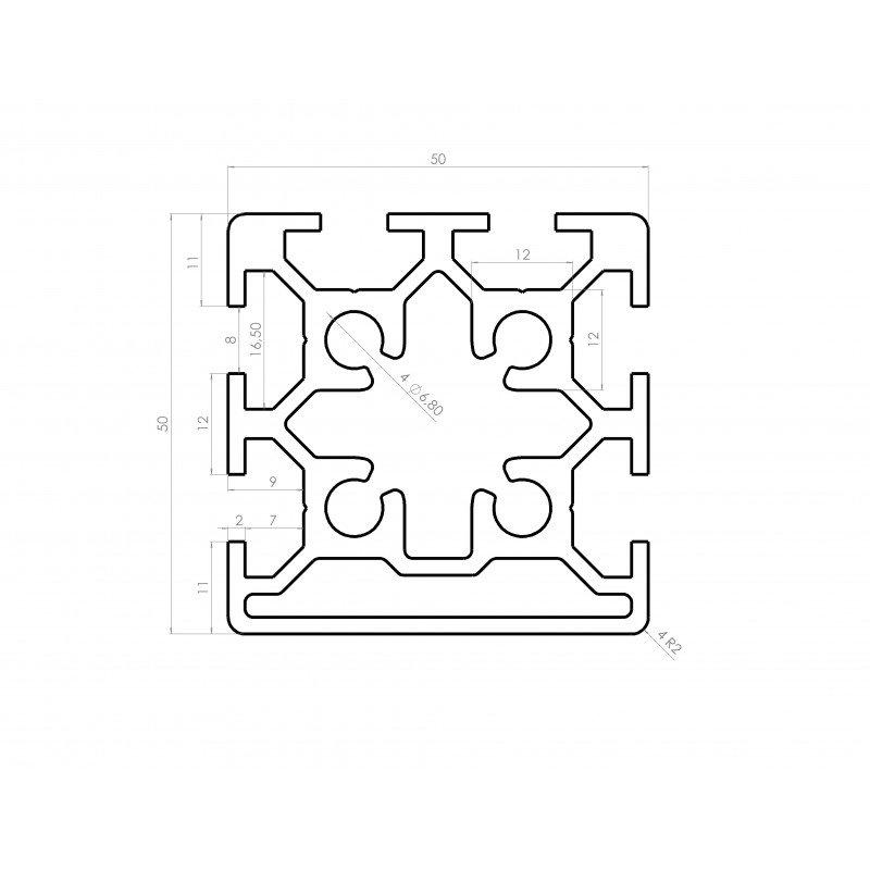 profil aluminium 50x50 fente 8 mm syst al. Black Bedroom Furniture Sets. Home Design Ideas