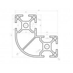 Profilé aluminium arrondi en L 60x60x30 - fente de 8 mm