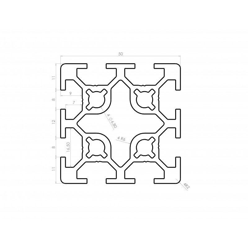 Profilé aluminium 50x50 8 fentes 8 mm