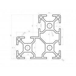 L-shaped aluminium profile 60x60x30 – 8mm slot